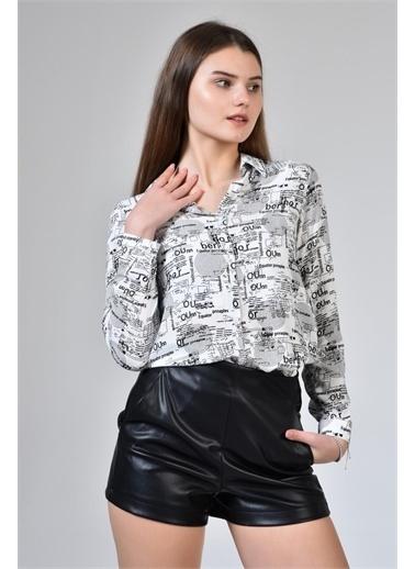 Rodi Jeans Kadın Baskılı Gömlek DS21YB033898 Beyaz